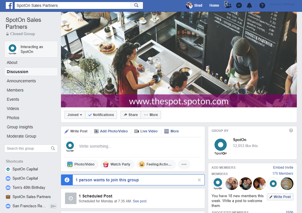 screenshot of facebook group reserved for SpotOn team members